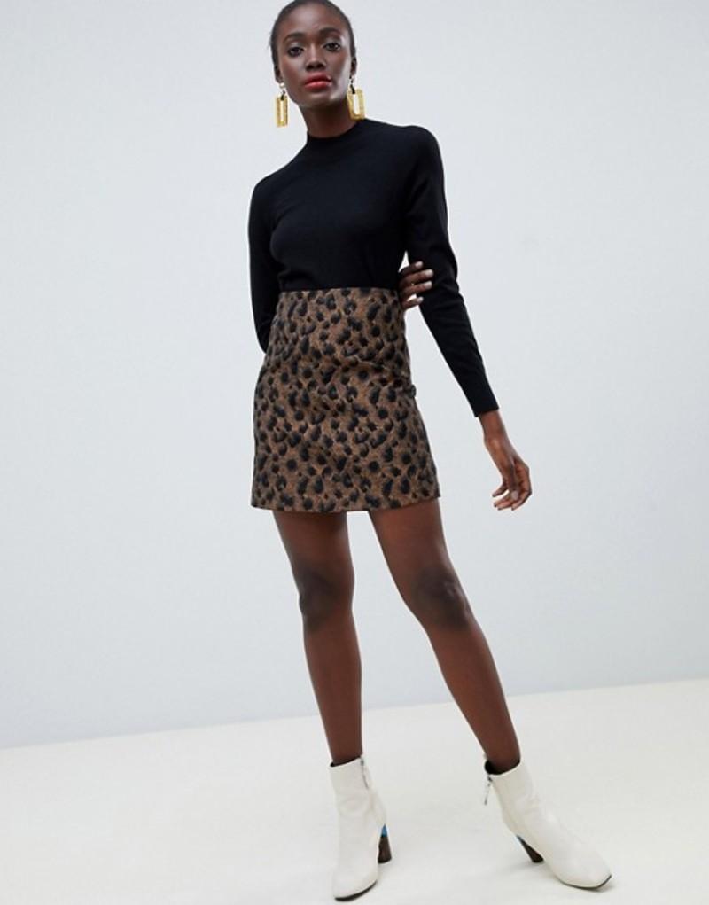 ウエアハウス レディース スカート ボトムス Warehouse a-line skirt in leopard print Multi