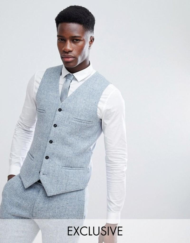 ノーク メンズ タンクトップ トップス Noak Skinny Vest In Harris Tweed Blue