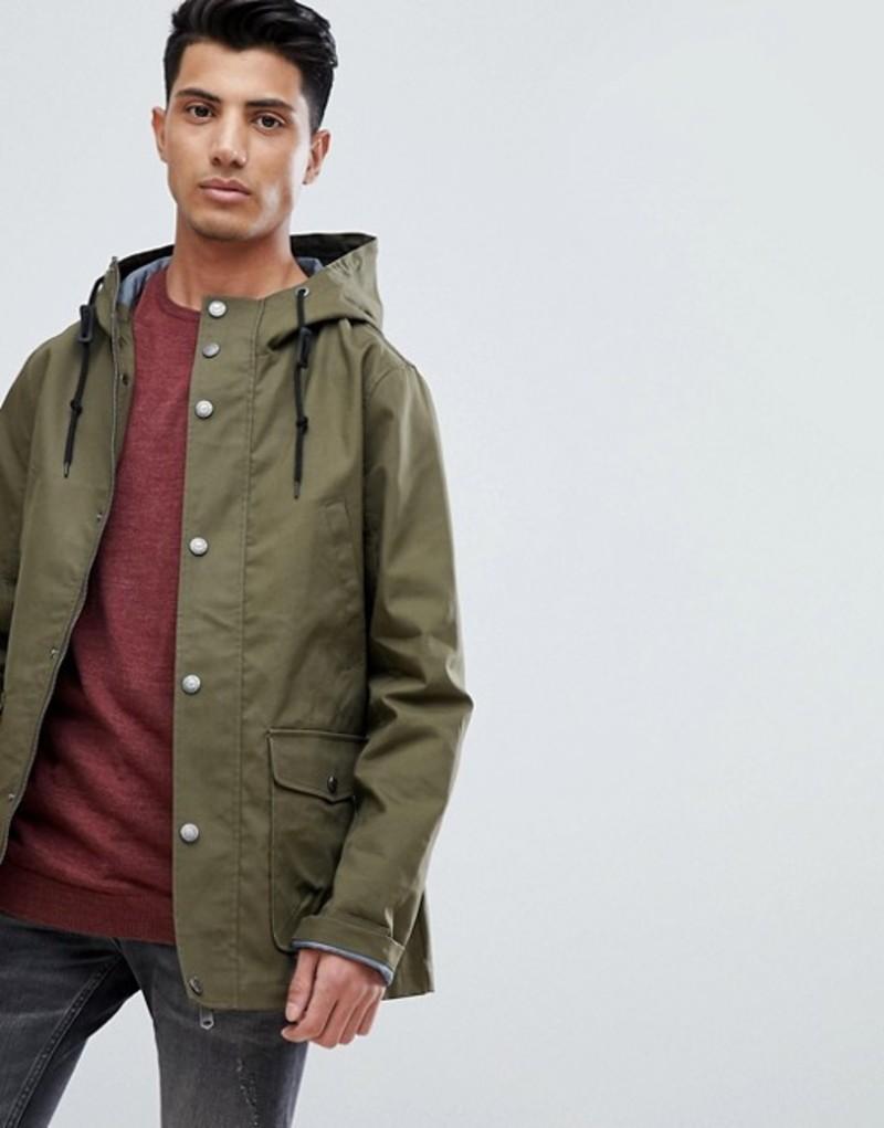 スリードベア メンズ コート アウター Threadbare Hooded Coat With Toggles Khaki