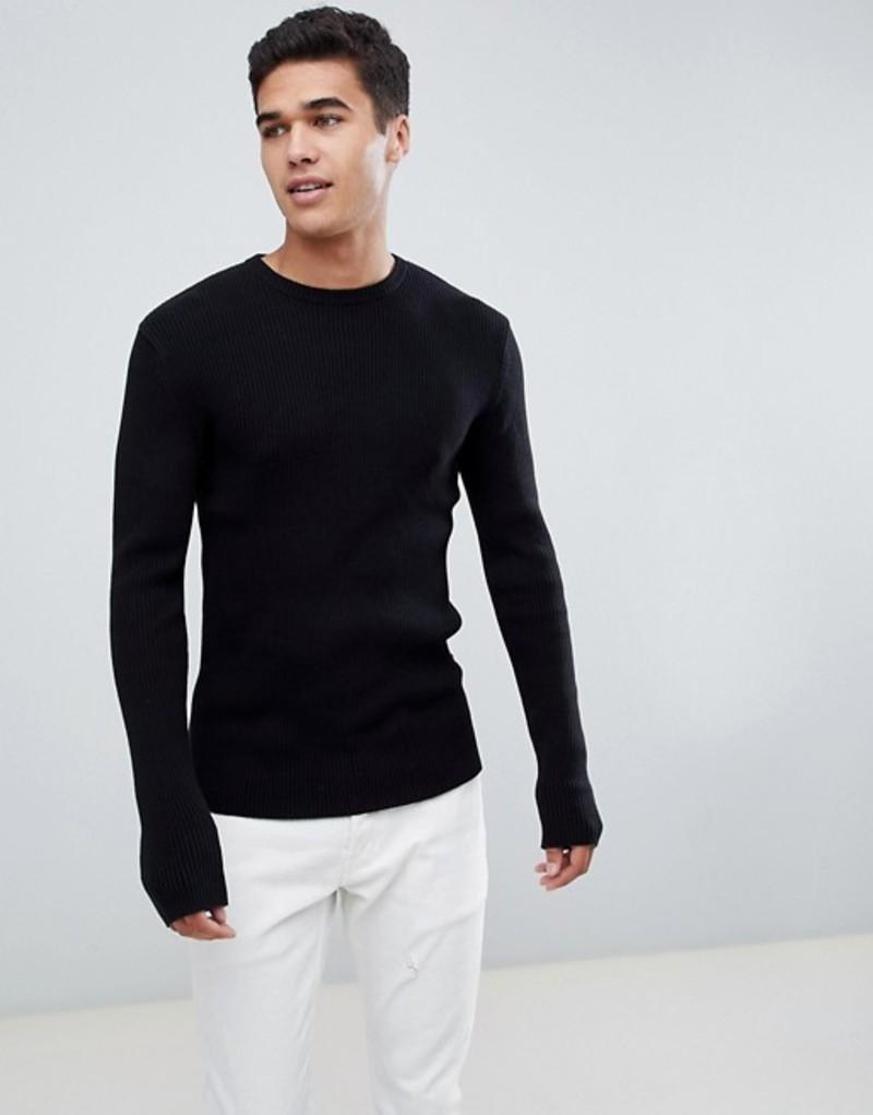フレンチコネクション メンズ ニット・セーター アウター French Connection Muscle Fit Crew Neck Rib Sweater Black