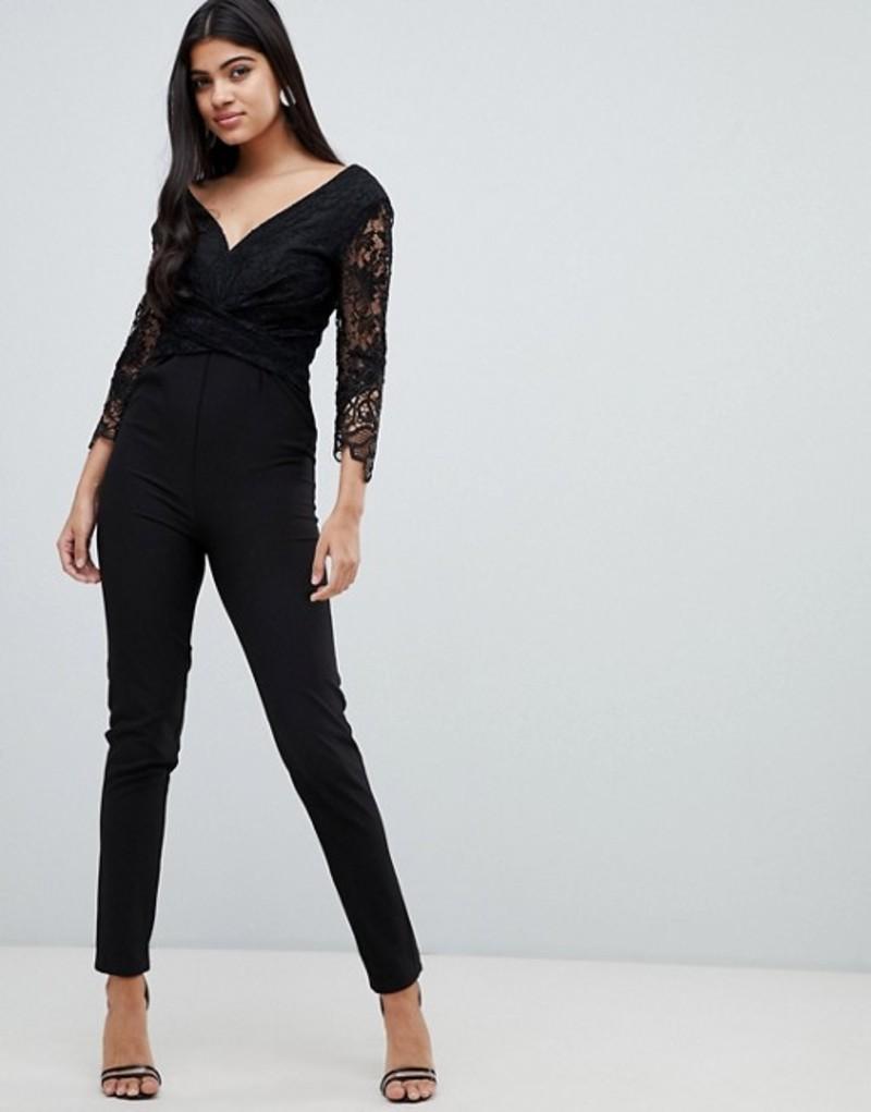 リトルミストレス レディース ワンピース トップス Little Mistress lace sleeve fitted jumpsuit in black Black