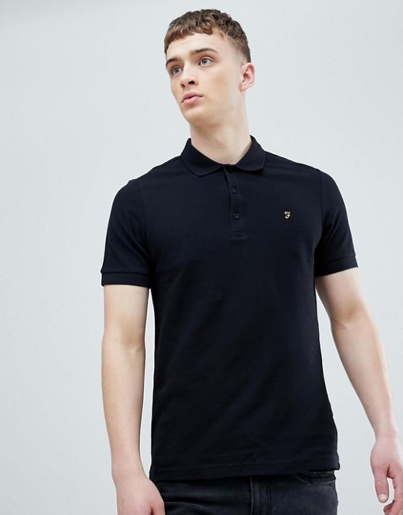 ファーラー メンズ ポロシャツ トップス Farah Blaney Pique Polo Slim Fit in Black Black