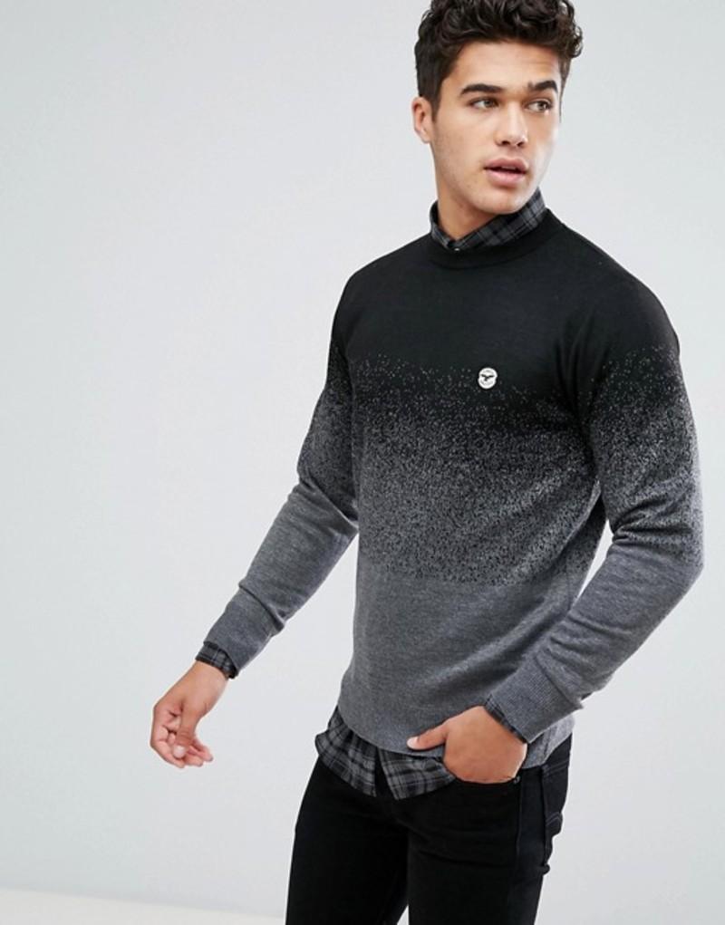 ル ブレーベ メンズ ニット・セーター アウター Le Breve Fleck Marl Fade Out Knitted Sweater Black