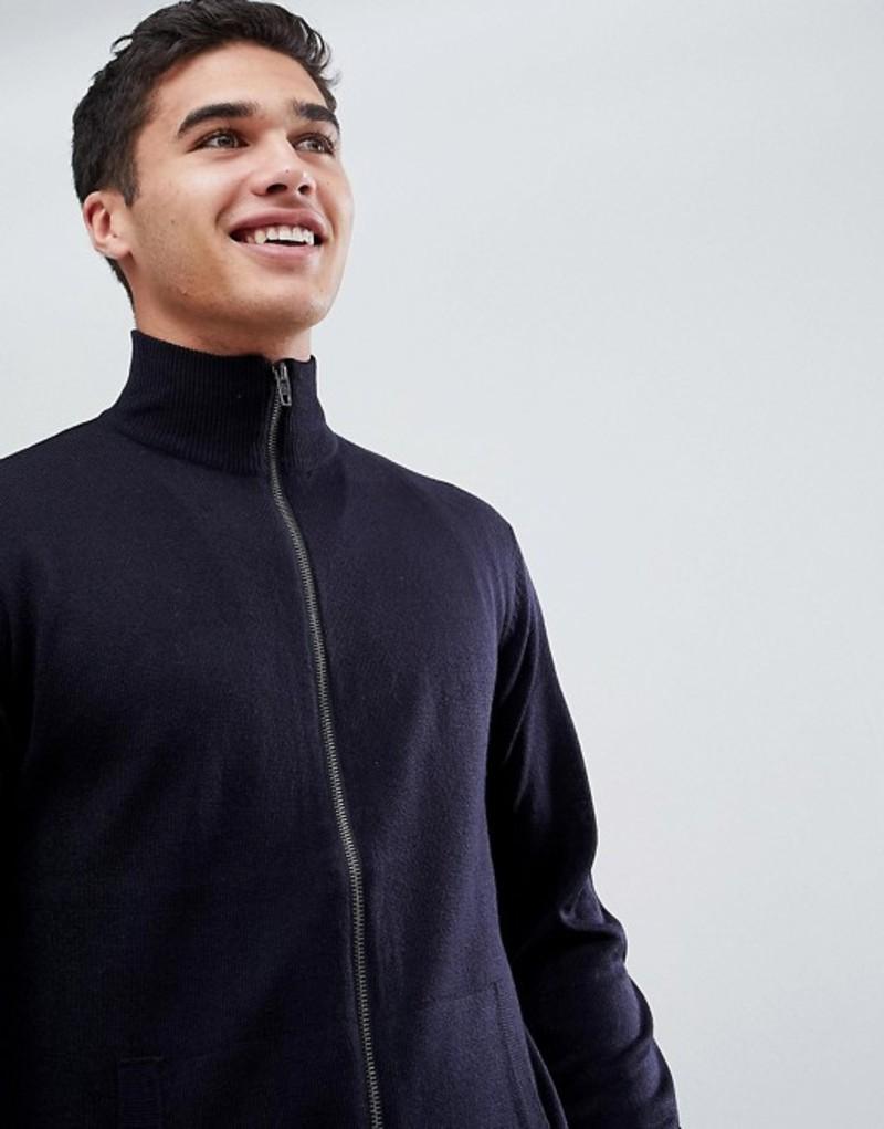 フレンチコネクション メンズ ニット・セーター アウター French Connection Zip Through Funnel Neck Fine Gauge Sweater Marine