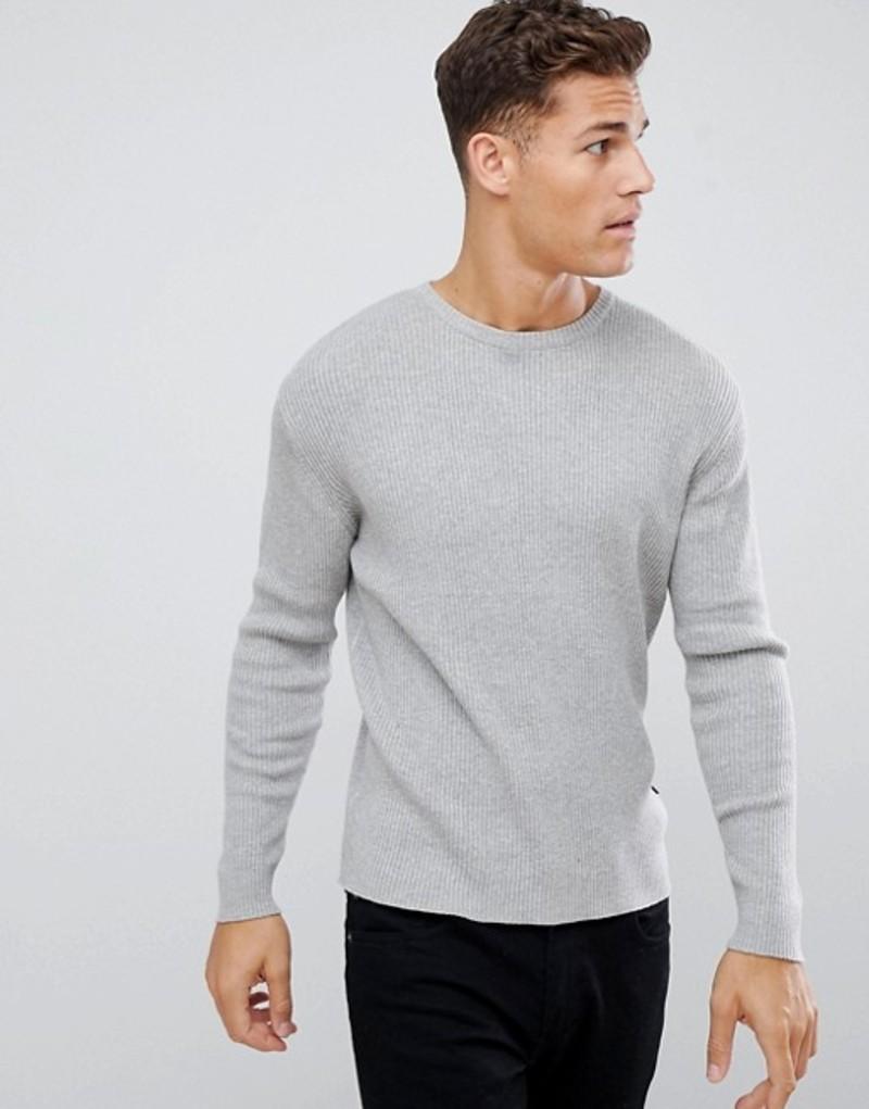 フレンチコネクション メンズ ニット・セーター アウター French Connection Muscle Fit Crew Neck Rib Sweater Light grey mel