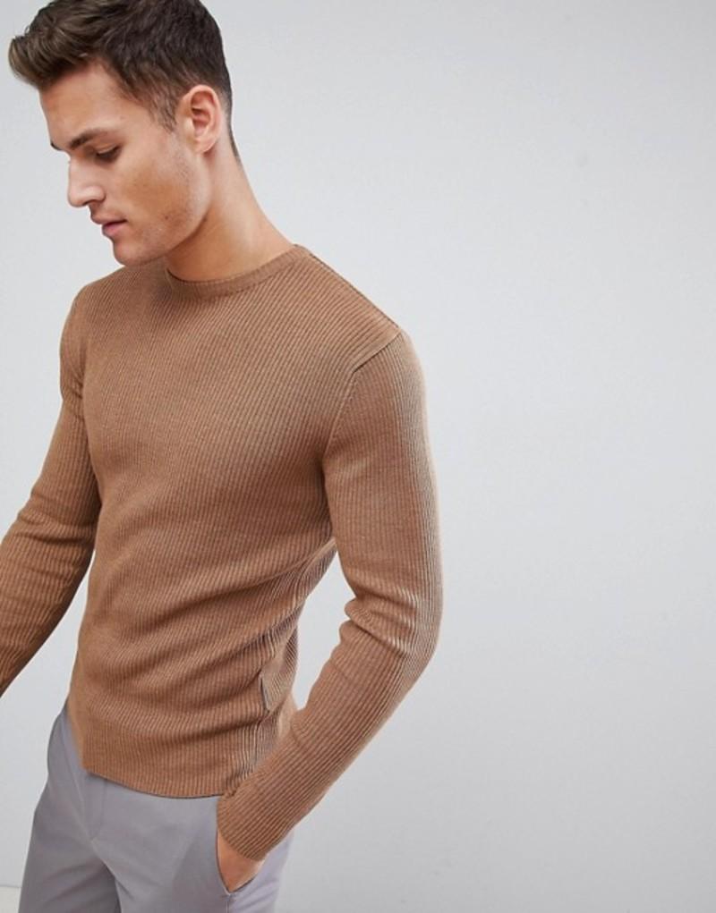 フレンチコネクション メンズ ニット・セーター アウター French Connection Muscle Fit Crew Neck Rib Sweater Camel