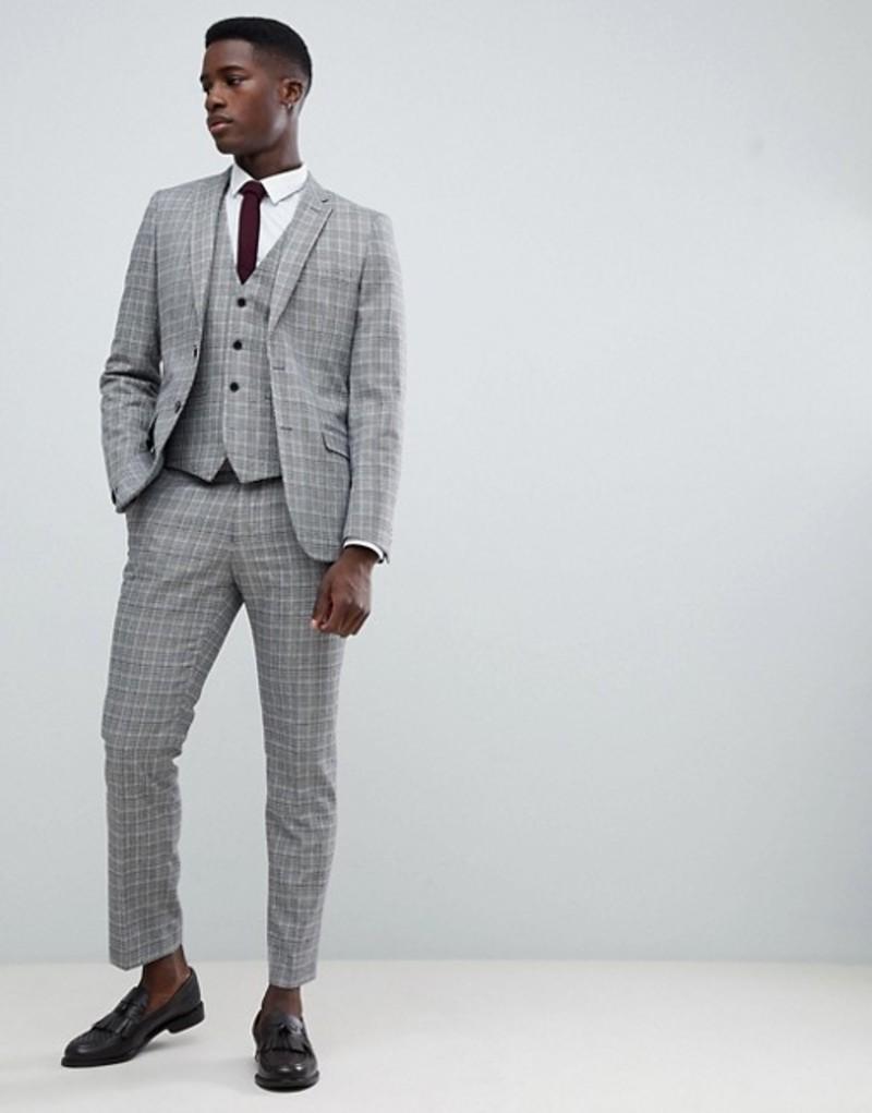 フレンチコネクション メンズ タンクトップ トップス French Connection Heritage Prince Of Wales Check Slim fit Vest Grey