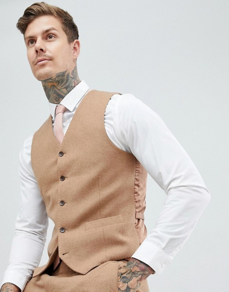 ジャンニ フェロー メンズ タンクトップ トップス Gianni Feraud Slim Fit Wool Blend Vest Tobacco