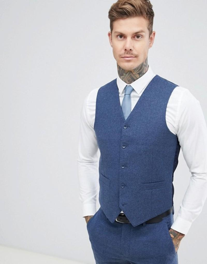ジャンニ フェロー メンズ タンクトップ トップス Gianni Feraud Slim Fit Wool Blend Heritage Donnegal Vest Navy