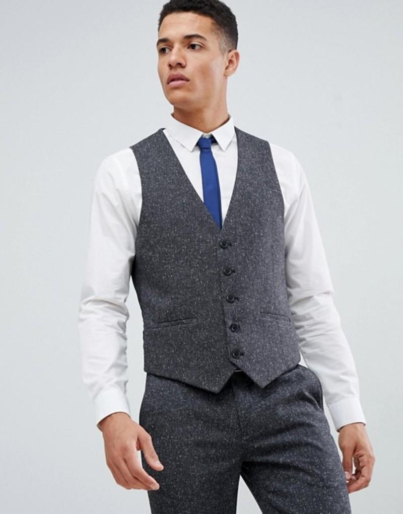 ファーラー メンズ タンクトップ トップス Farah Henderson Fleck slim fit vest Charcoal