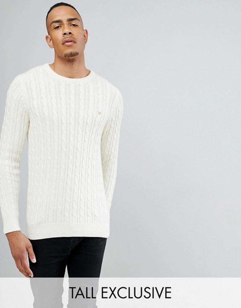 ファーラー メンズ ニット・セーター アウター Farah TALL Lewes Twisted Marl Cable Sweater in Cream Cream