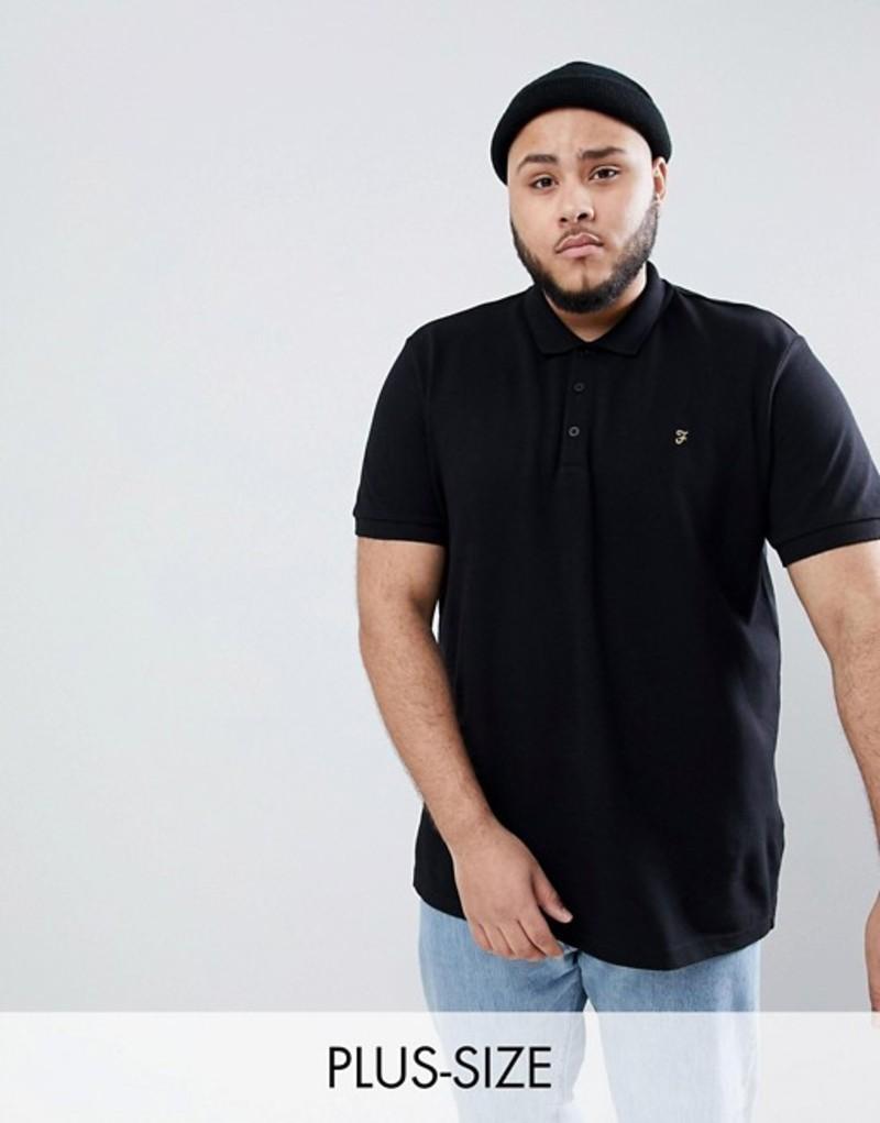 ファーラー メンズ ポロシャツ トップス Farah PLUS Blaney Slim Fit Pique Polo in Black Black