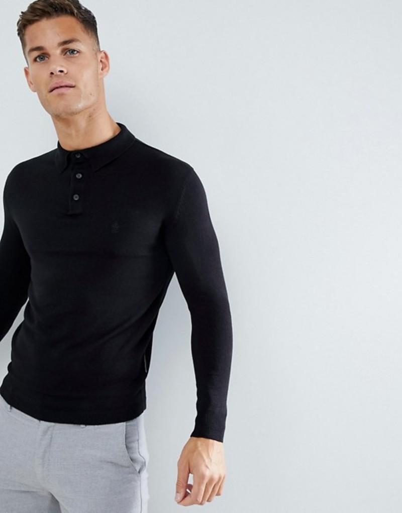 フレンチコネクション メンズ ポロシャツ トップス French Connection Fine Gauge Long Sleeve Polo Black