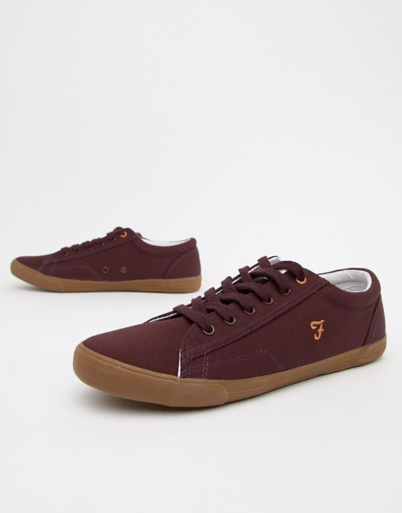 ファーラー メンズ スニーカー シューズ Farah Vintage Brucey Canvas Sneakers in Burgundy Red