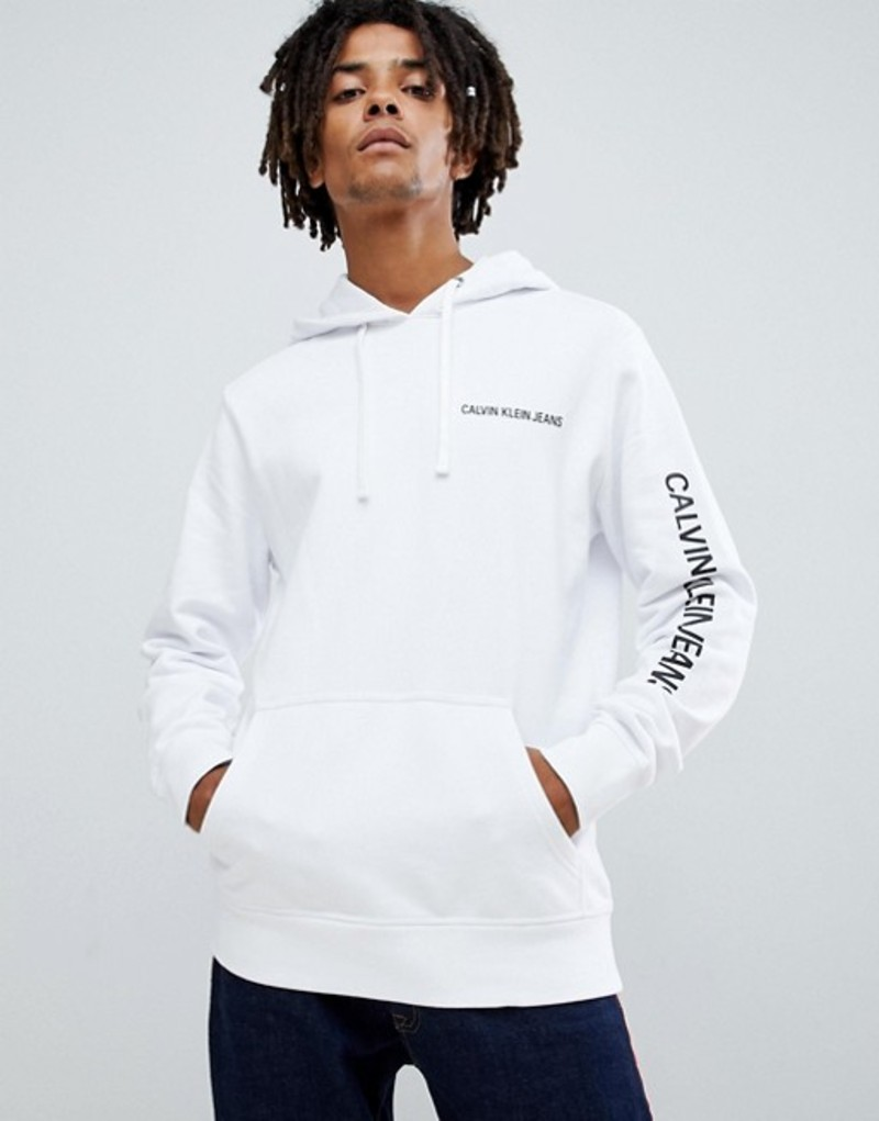 カルバンクライン メンズ パーカー・スウェット アウター Calvin Klein Jeans hoodie with chest and sleeve logo print white Bright white