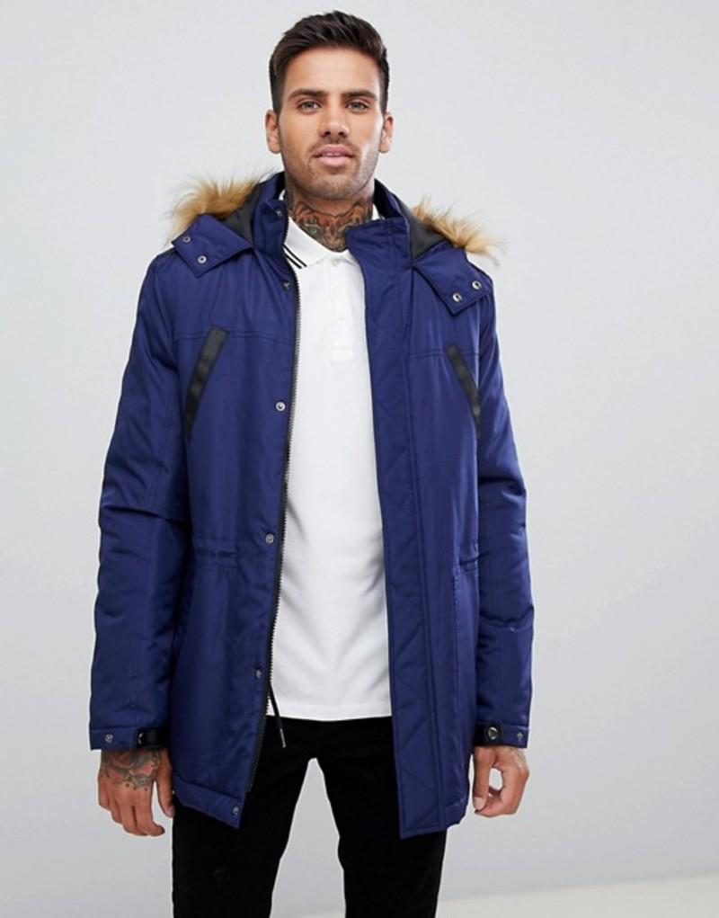 エイソス メンズ パーカー・スウェット アウター ASOS DESIGN parka jacket with faux fur trim in navy Navy