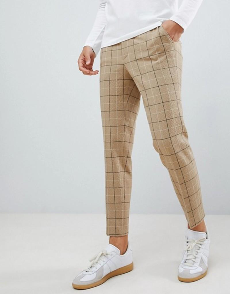 エイソス メンズ カジュアルパンツ ボトムス ASOS DESIGN skinny smart PANTS in putty window pane check with drawcord waist Putty