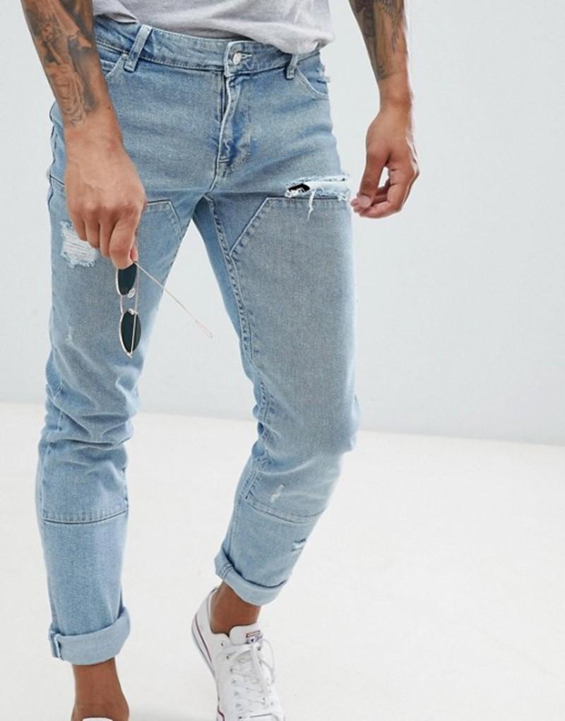エイソス メンズ デニムパンツ ボトムス ASOS DESIGN skinny jeans in light wash blue cut and sew panelling Light wash blue