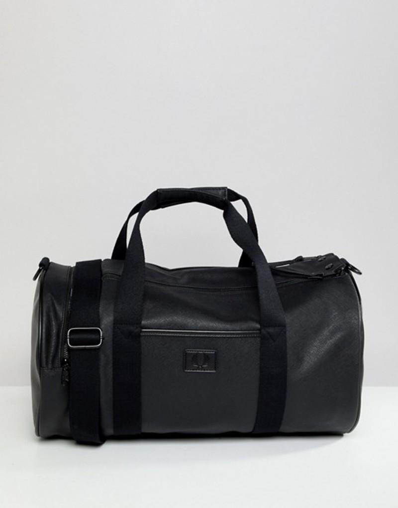 フレッドペリー メンズ ボストンバッグ バッグ Fred Perry Saffiano barrel bag in black 102