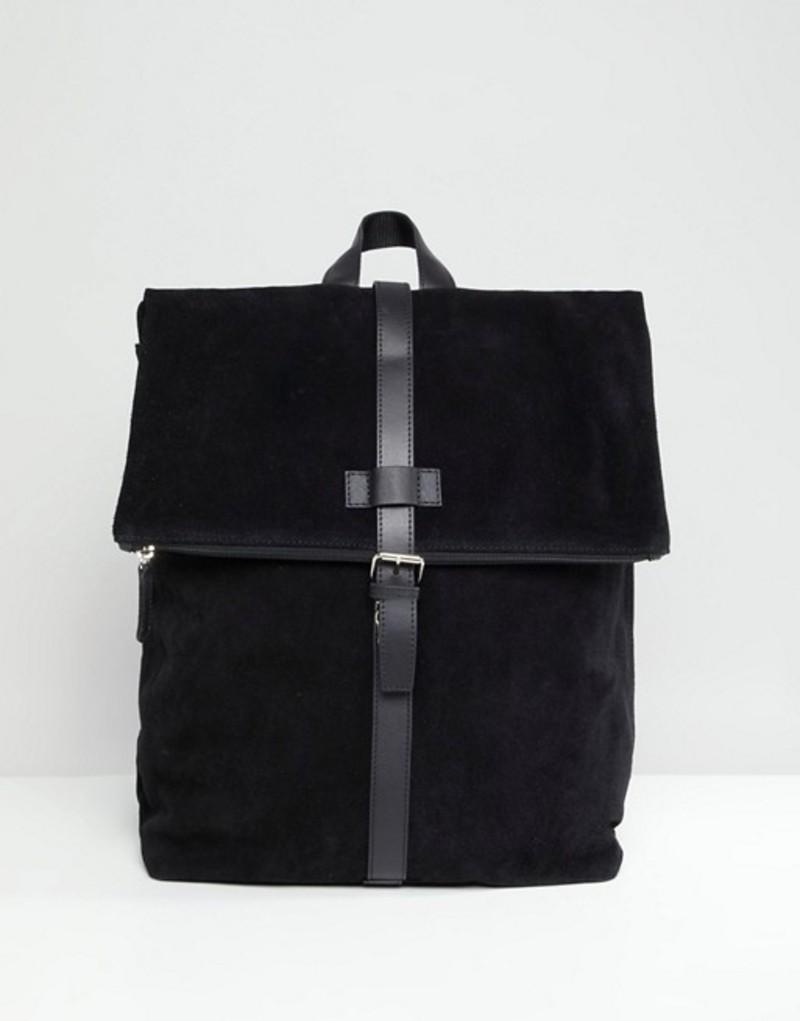 エイソス メンズ バックパック・リュックサック バッグ ASOS DESIGN suede backpack in black with internal laptop pouch Black