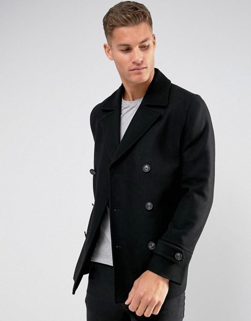 エイソス メンズ コート アウター ASOS DESIGN wool mix peacoat in black Black
