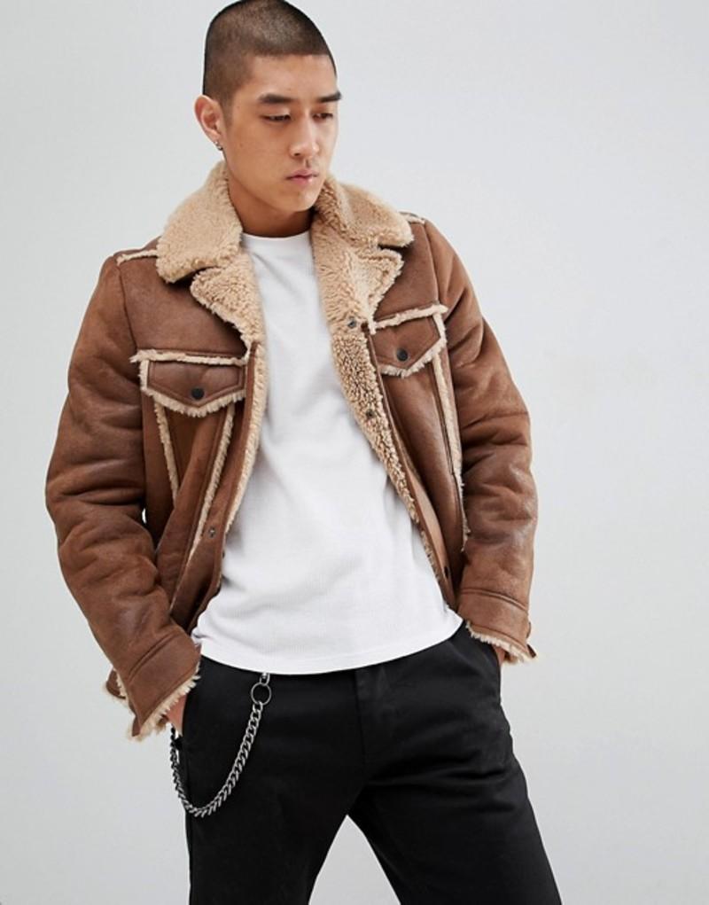 エイソス メンズ ジャケット・ブルゾン アウター ASOS DESIGN western faux shearling jacket in brown Brown
