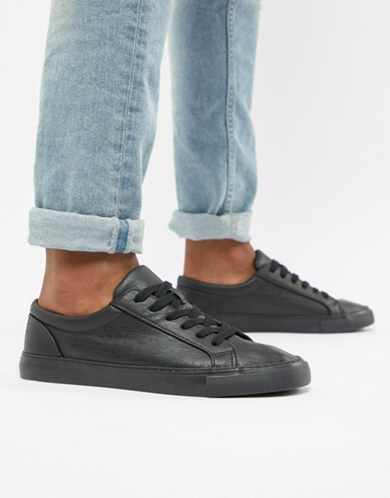 エイソス メンズ スニーカー シューズ ASOS DESIGN vegan friendly lace up sneakers in black Black