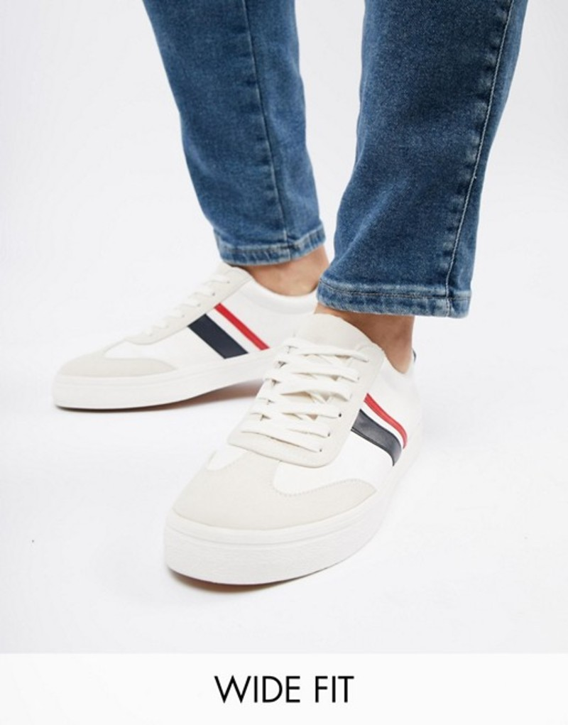 エイソス メンズ スニーカー シューズ ASOS DESIGN Wide Fit vegan friendly retro sneakers in white with navy and red stripe White
