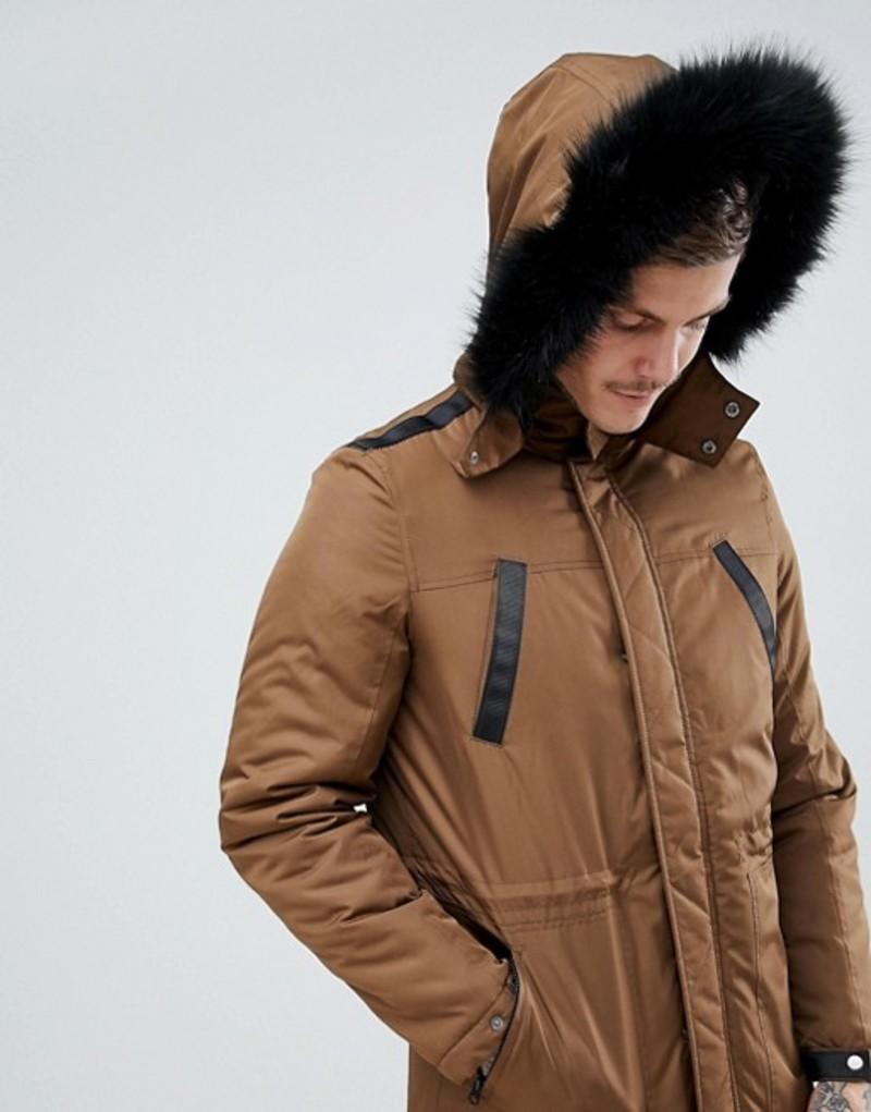 エイソス メンズ ジャケット・ブルゾン アウター ASOS DESIGN parka jacket with faux fur trim in tobacco Tobacco