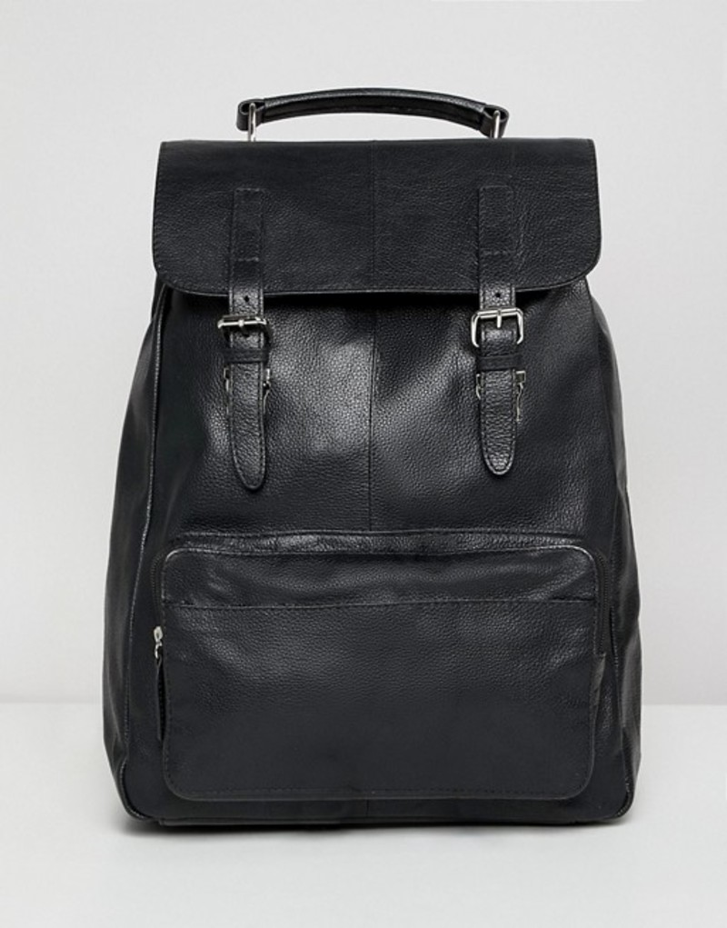 エイソス メンズ バックパック・リュックサック バッグ ASOS DESIGN leather backpack in black with front pocket and double straps Black