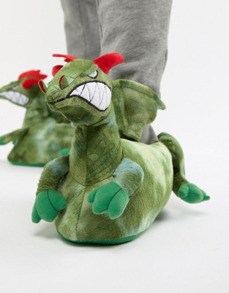 エイソス メンズ サンダル シューズ ASOS DESIGN dragon slippers in green Green