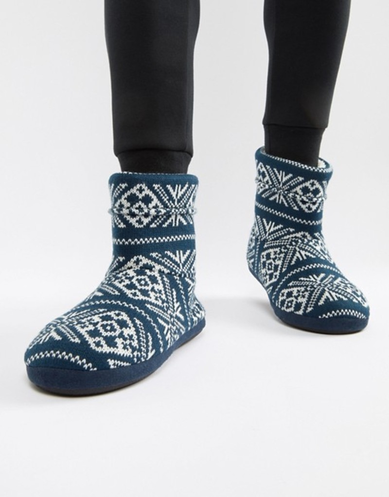 エイソス メンズ サンダル シューズ ASOS DESIGN slipper boots in navy christmas fairisle Navy