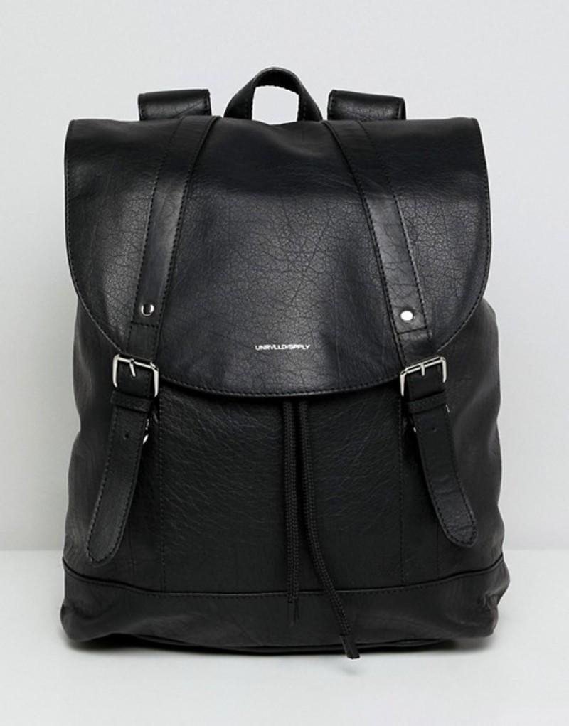 エイソス メンズ バックパック・リュックサック バッグ ASOS leather backpack in black with front pocket detail Black