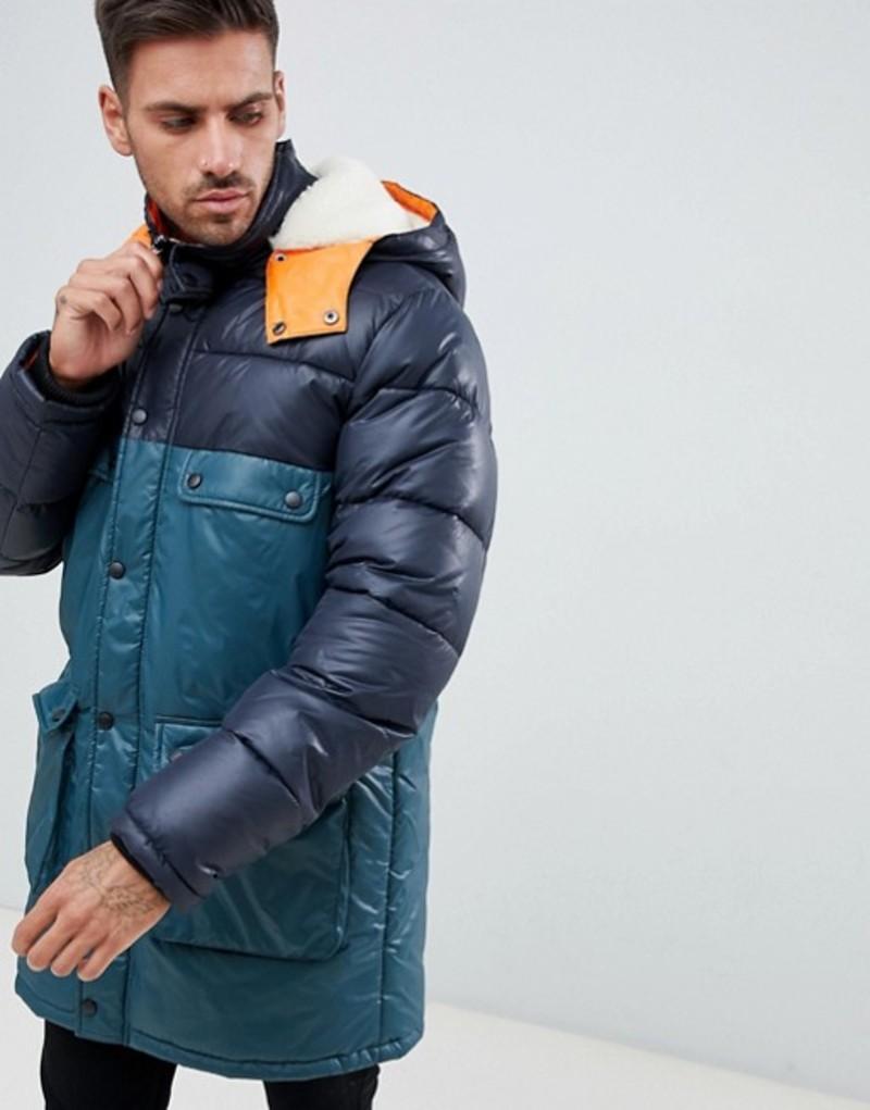 エイソス メンズ パーカー・スウェット アウター ASOS DESIGN longline parka jacket with faux fur trim in color block Navy