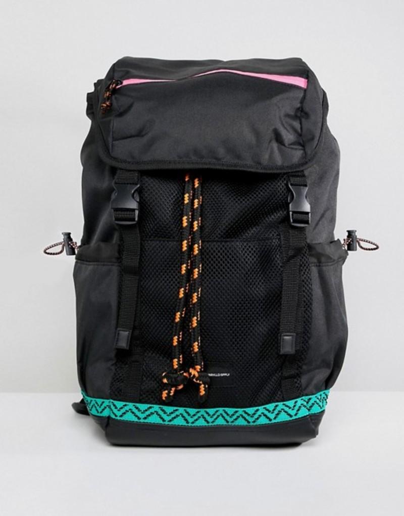 エイソス メンズ バックパック・リュックサック バッグ ASOS DESIGN hiker backpack in black with colored trims Black