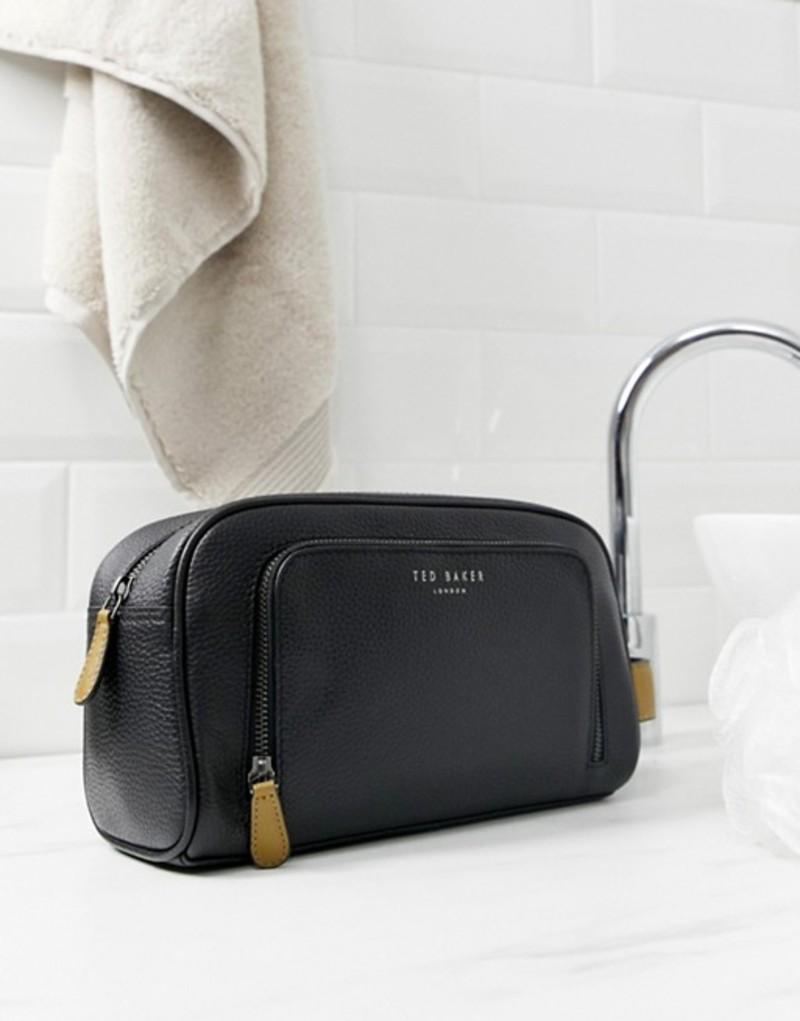 テッドベーカー メンズ ボディバッグ・ウエストポーチ バッグ Ted Baker Soaps toiletry bag in leather Black