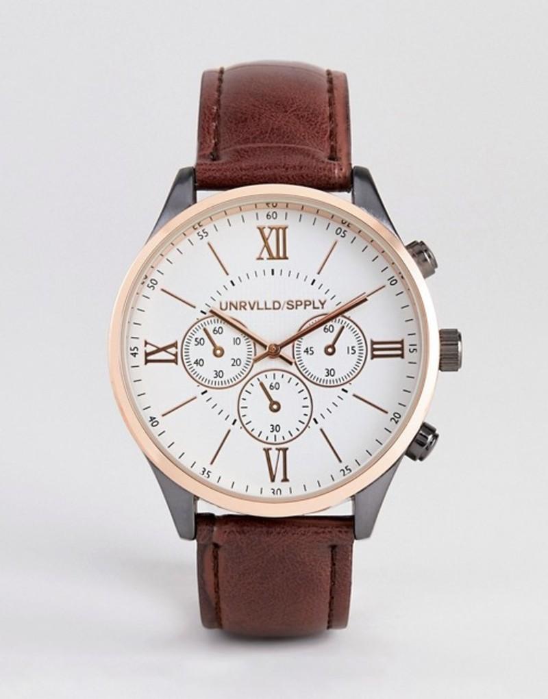 エイソス メンズ 腕時計 アクセサリー ASOS DESIGN watch in rose gold mixed metal finish with brown croc strap Brown