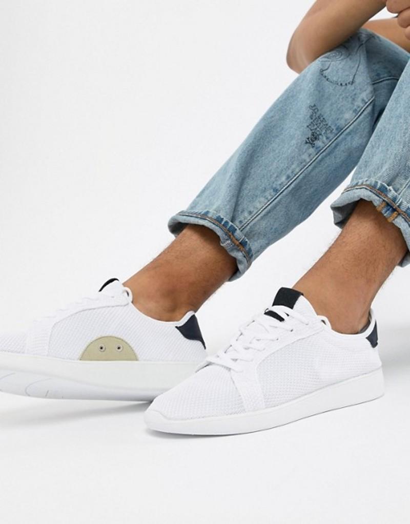 プルアンドベアー メンズ スニーカー シューズ Pull&Bear Knitted Sneaker In White White
