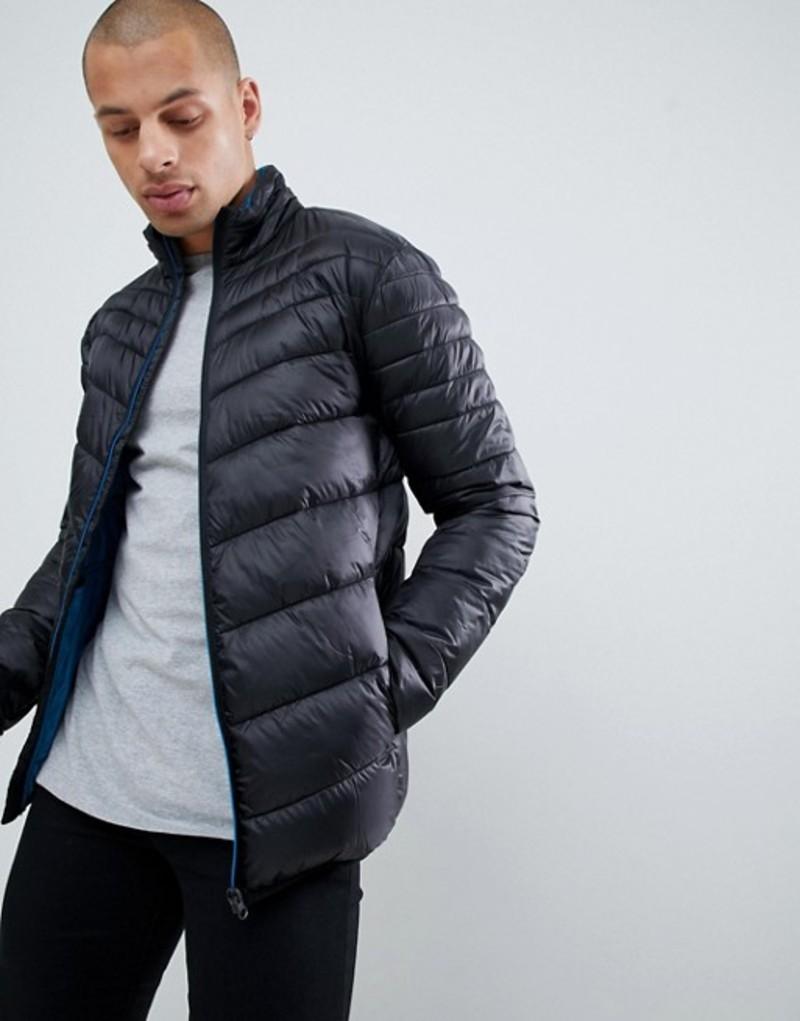 リバーアイランド メンズ ジャケット・ブルゾン アウター River Island puffer jacket in black Black