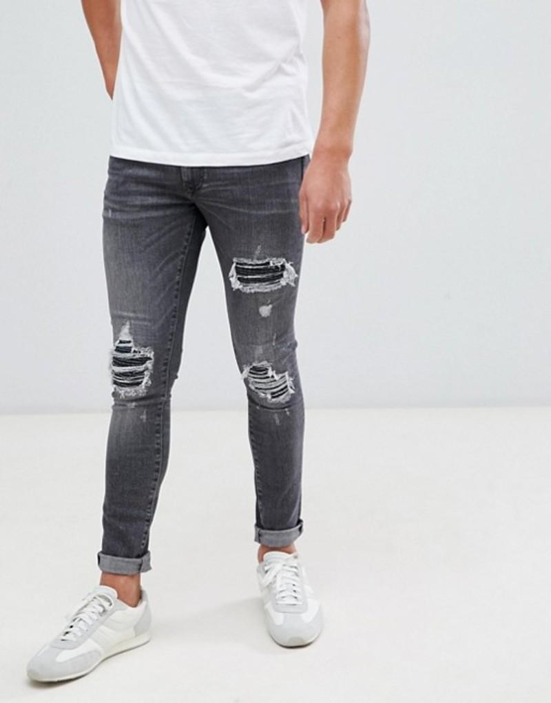 リバーアイランド メンズ デニムパンツ ボトムス River Island super skinny jeans with rips in washed black Washed black