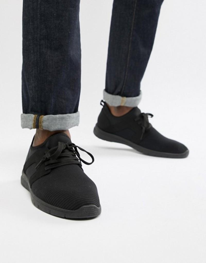 ニュールック メンズ スニーカー シューズ New Look knitted sneakers in black Black