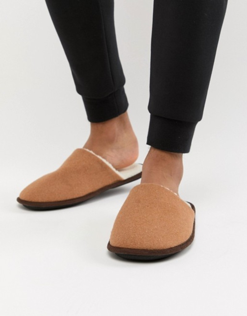 ニュールック メンズ サンダル シューズ New Look mule slippers with borg lining in tan Tan