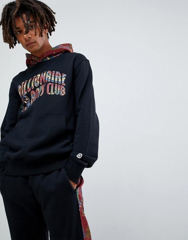 ビリオネアボーイズクラブ メンズ パーカー・スウェット アウター Billionaire Boys Club paisley contrast hoodie with arch logo in black Black