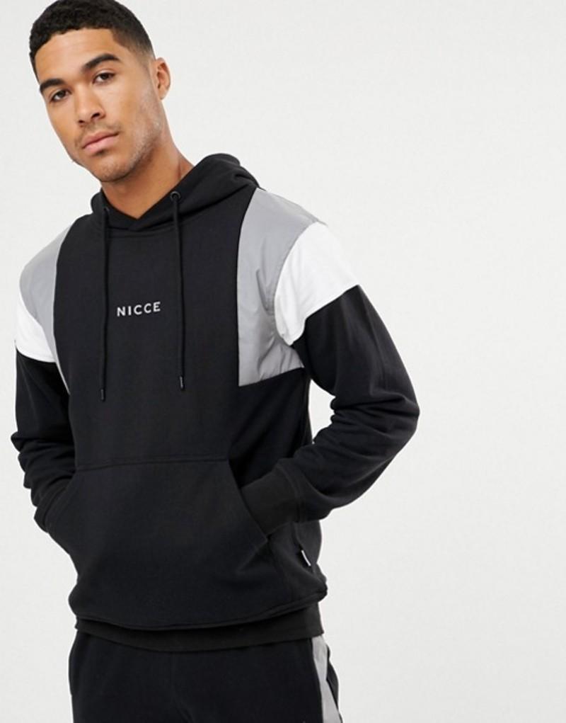 ニースロンドン メンズ パーカー・スウェット アウター Nicce hoodie in black with reflective panels Black