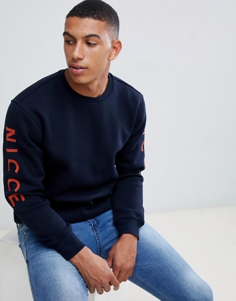 ニースロンドン メンズ パーカー・スウェット アウター Nicce sweatshirt in navy with sleeve logo Navy