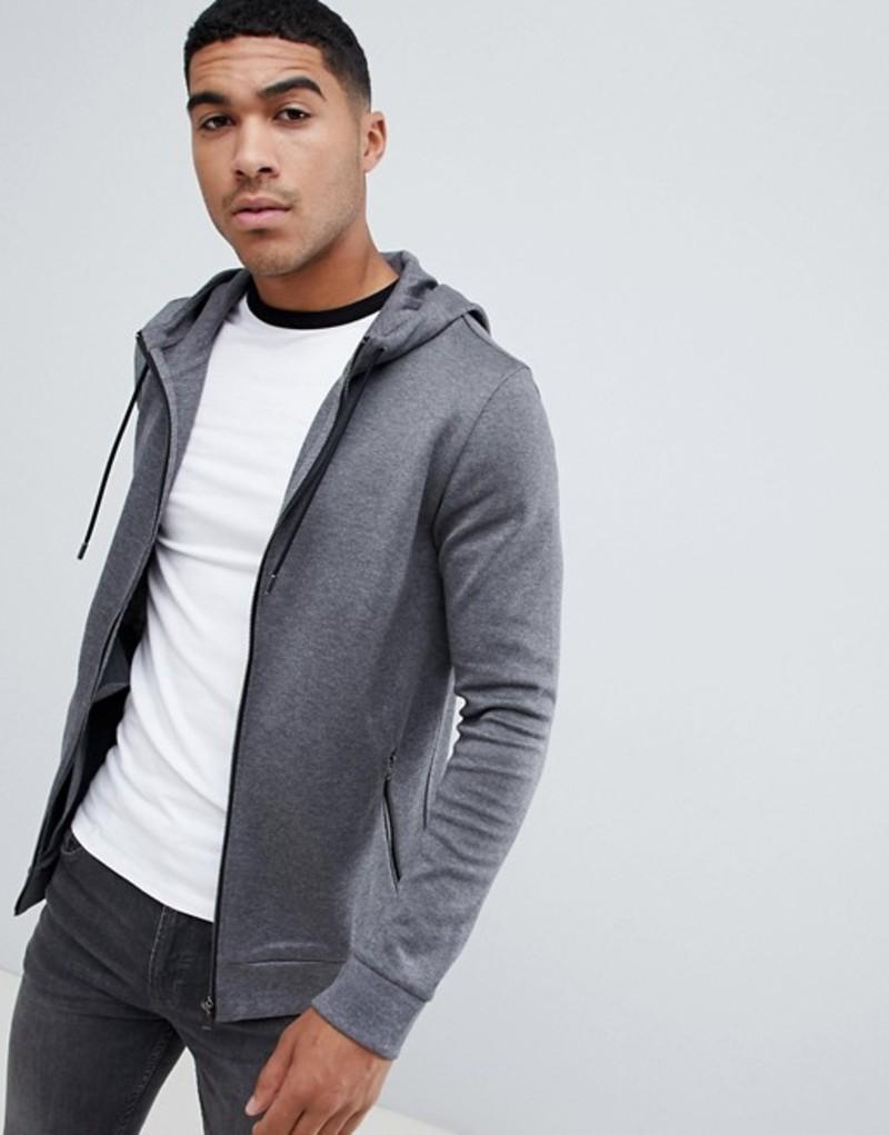 フューゴ メンズ パーカー・スウェット アウター HUGO Debasti zip thru hoodie in gray Grey