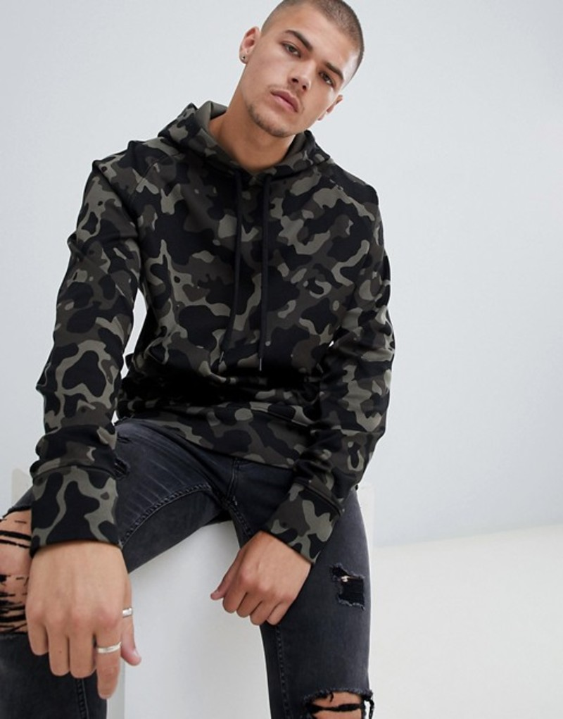 フューゴ メンズ パーカー・スウェット アウター HUGO Dayfun-U hoodie in camo print with logo hood in khaki Green