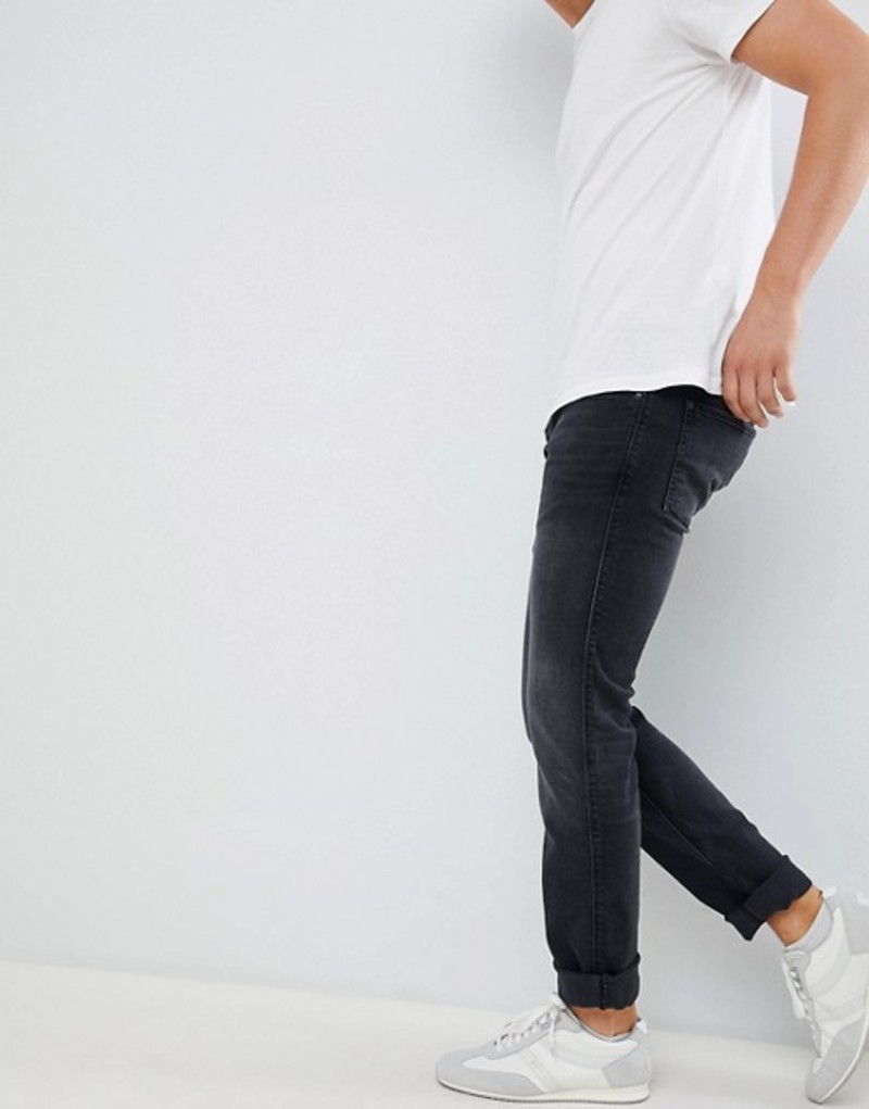 フューゴ メンズ デニムパンツ ボトムス HUGO 708 slim fit 5 pocket jean with stretch in washed black Black