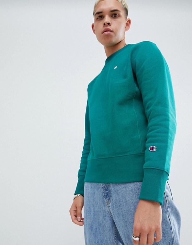 チャンピオン メンズ パーカー・スウェット アウター Champion reverse weave sweatshirt with small logo in green Green