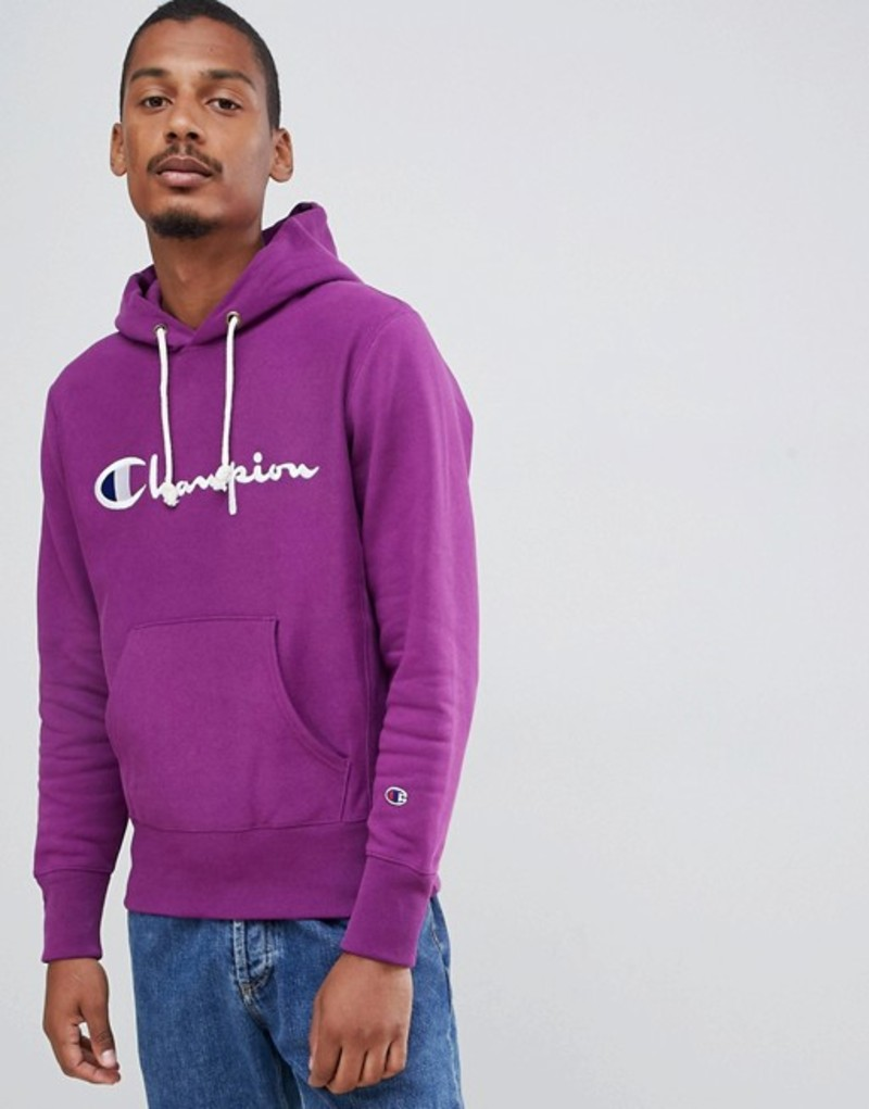 チャンピオン メンズ パーカー・スウェット アウター Champion reverse weave hoodie with large script logo in purple Purple
